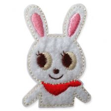 WHITE RABBIT MOTIF IRON ON EMBROIDERED PATCH APPLIQUE